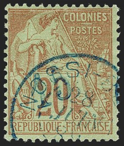 Sale Number 1214, Lot Number 1622, French Colonies - French Polynesia thru ObockNOSSI-BE, 1889, 15c on 20c Red on Green (7; Yvert 4), NOSSI-BE, 1889, 15c on 20c Red on Green (7; Yvert 4)