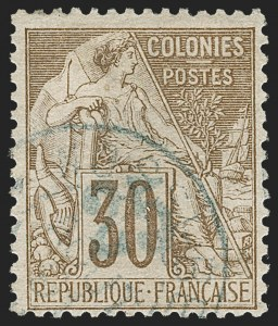 Sale Number 1214, Lot Number 1623, French Colonies - French Polynesia thru ObockNOSSI-BE, 1889, 25c on 30c Brown (8; Yvert 5), NOSSI-BE, 1889, 25c on 30c Brown (8; Yvert 5)