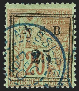 Sale Number 1214, Lot Number 1625, French Colonies - French Polynesia thru ObockNOSSI-BE, 1890, 25c on 20c Red on Green (12; Yvert 16), NOSSI-BE, 1890, 25c on 20c Red on Green (12; Yvert 16)