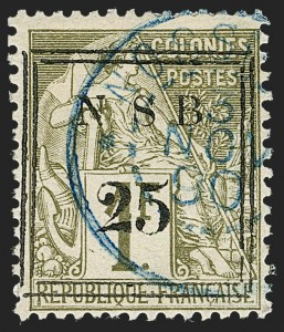 Sale Number 1214, Lot Number 1626, French Colonies - French Polynesia thru ObockNOSSI-BE, 1890, 25c on 1fr Bronze Green on Straw (18; Yvert 18), NOSSI-BE, 1890, 25c on 1fr Bronze Green on Straw (18; Yvert 18)