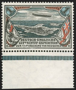 Sale Number 1214, Lot Number 1660, German New Guinea thru Germany and AreaGERMAN NEW GUINEA, 1913, 2pf and 1m Unissued New Guinea Expedition Zeppelins (Sieger I-II), GERMAN NEW GUINEA, 1913, 2pf and 1m Unissued New Guinea Expedition Zeppelins (Sieger I-II)
