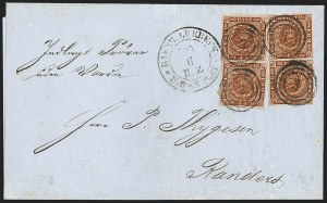 Sale Number 1214, Lot Number 1662, German New Guinea thru Germany and AreaSCHLESWIG-HOLSTEIN, 1860 Danish Post Office in Lubeck, SCHLESWIG-HOLSTEIN, 1860 Danish Post Office in Lubeck
