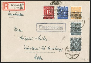 Sale Number 1214, Lot Number 1665, German New Guinea thru Germany and AreaGERMANY, 1948, 12pf Red, 12pf Gray, 25c Blue, 25c Yellow, Band Overprints, 25pf Gray Posthorn Overprint (586A, 586B, 587C, 588, 593E; Michel 55I, 56I, 56II, 61I, 62I), GERMANY, 1948, 12pf Red, 12pf Gray, 25c Blue, 25c Yellow, Band Overprints, 25pf Gray Posthorn Overprint (586A, 586B, 587C, 588, 593E; Michel 55I, 56I, 56II, 61I, 62I)