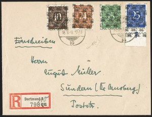 Sale Number 1214, Lot Number 1666, German New Guinea thru Germany and AreaGERMANY, 1948, 10pf, 15pf Green, 24pf, 25pf Blue, Posthorn Overprints (595C, 594, 594B, 594C; Michel 54II, 58II, 60Ii, 61II), GERMANY, 1948, 10pf, 15pf Green, 24pf, 25pf Blue, Posthorn Overprints (595C, 594, 594B, 594C; Michel 54II, 58II, 60Ii, 61II)