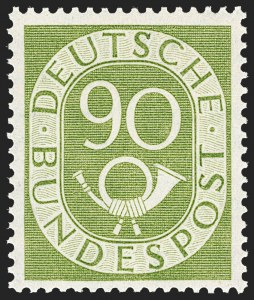 Sale Number 1214, Lot Number 1667, German New Guinea thru Germany and AreaGERMANY, 1951-52, 2pf-90pf Post Horns (670-685; Michel 123-138), GERMANY, 1951-52, 2pf-90pf Post Horns (670-685; Michel 123-138)