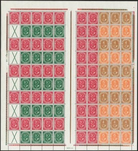 Sale Number 1214, Lot Number 1670, German New Guinea thru Germany and AreaGERMANY, 1951, 4pf-20pf Posthorn Booklet Panes, Complete Sheets of Ten Panes (Michel MHB 1, MHB 2), GERMANY, 1951, 4pf-20pf Posthorn Booklet Panes, Complete Sheets of Ten Panes (Michel MHB 1, MHB 2)