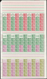 Sale Number 1214, Lot Number 1671, German New Guinea thru Germany and AreaGERMANY, 1955-58, 1pf-20pf Huess Booklet Panes, Complete Sheets of Ten Panes (Michel MHB 4, MHB 5, MHB 6), GERMANY, 1955-58, 1pf-20pf Huess Booklet Panes, Complete Sheets of Ten Panes (Michel MHB 4, MHB 5, MHB 6)
