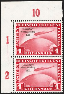 Sale Number 1214, Lot Number 1673, German New Guinea thru Germany and AreaGERMANY, 1933, 1m-4m Chicago Flight Zeppelins (C43-C45; Michel 496-498), GERMANY, 1933, 1m-4m Chicago Flight Zeppelins (C43-C45; Michel 496-498)