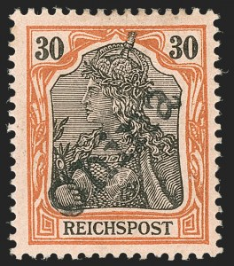 Sale Number 1214, Lot Number 1677, German New Guinea thru Germany and AreaGERMANY, Offices in China, 1900, 30pf Orange & Black on Salmon, Tientsin Handstamp (21; Michel 12), GERMANY, Offices in China, 1900, 30pf Orange & Black on Salmon, Tientsin Handstamp (21; Michel 12)