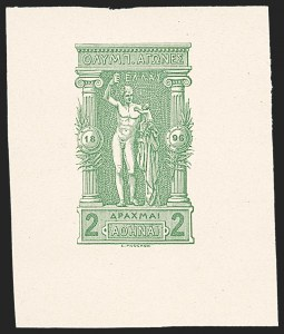 Sale Number 1214, Lot Number 1681, Greence thru KoreaGREECE, 1896, 2d Olympics, Trial Color Die Proof in Green (126TC), GREECE, 1896, 2d Olympics, Trial Color Die Proof in Green (126TC)