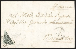 Sale Number 1214, Lot Number 1689, Greence thru KoreaROMAN STATES, 1852, 6b Black on Greenish Green, Half Used as 3b (7e), ROMAN STATES, 1852, 6b Black on Greenish Green, Half Used as 3b (7e)