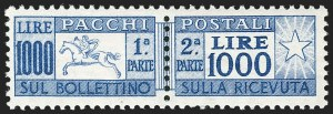 Sale Number 1214, Lot Number 1690, Greence thru KoreaITALY, 1954, 1,000l Ultramarine, Parcel Post (Q76; Sassone PP81), ITALY, 1954, 1,000l Ultramarine, Parcel Post (Q76; Sassone PP81)