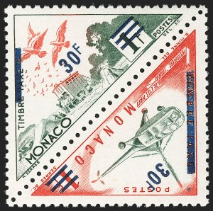 Sale Number 1214, Lot Number 1705, MonacoMONACO, 1956, 30f on 1f Pigeons & Helicopter, Unissued Air Post (Maury 491A-491B), MONACO, 1956, 30f on 1f Pigeons & Helicopter, Unissued Air Post (Maury 491A-491B)