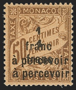 Sale Number 1214, Lot Number 1716, MonacoMONACO, 1925, 1fr on 50c Brown on Orange, Postage Due, Double Surcharge (J27a; Yvert TT17a), MONACO, 1925, 1fr on 50c Brown on Orange, Postage Due, Double Surcharge (J27a; Yvert TT17a)