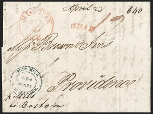 Sale Number 1215, Lot Number 2083, Early Boston Postal History: 1816 and laterShip Milo S.G. Bronson Sail*d mar. 27 (1818), Ship Milo S.G. Bronson Sail*d mar. 27 (1818)