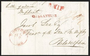 "Sale Number 1215, Lot Number 2085, Early Boston Postal History: 1816 and later(Incoming Foreign Mail via Boston, 1827-32), ""QUARANTINE"", (Incoming Foreign Mail via Boston, 1827-32), ""QUARANTINE"""