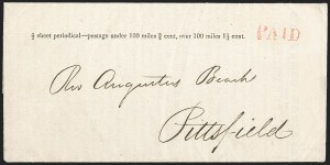 "Sale Number 1215, Lot Number 2087, Early Boston Postal History: 1816 and later""1/2 sheet periodical--postage under 100 miles 3/4 cent, over 100 miles 1-1/4 cent, ""1/2 sheet periodical--postage under 100 miles 3/4 cent, over 100 miles 1-1/4 cent"