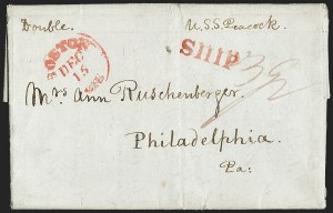 Sale Number 1215, Lot Number 2088, Early Boston Postal History: 1816 and later(Siam to Philadelphia via Boston, Mar. 21, 1836), (Siam to Philadelphia via Boston, Mar. 21, 1836)