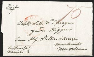 Sale Number 1215, Lot Number 2089, Early Boston Postal History: 1816 and later(Boston to New Orleans, Apr. 29, 1837), Express Mail, (Boston to New Orleans, Apr. 29, 1837), Express Mail