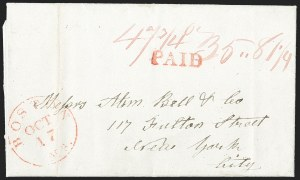 Sale Number 1215, Lot Number 2090, Early Boston Postal History: 1816 and later(Boston to New York, Oct. 17, 1839), (Boston to New York, Oct. 17, 1839)