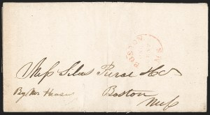 "Sale Number 1215, Lot Number 2091, Early Boston Postal History: 1816 and later""Boston Ms. One Cent"", ""Boston Ms. One Cent"""