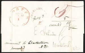 Sale Number 1215, Lot Number 2095, Early Boston Postal History: 1816 and laterBoston, July 1, 1845, First Day of New 5c and 10c Rates, Boston, July 1, 1845, First Day of New 5c and 10c Rates