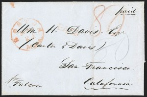 Sale Number 1215, Lot Number 2100, Early Boston Postal History: 1816 and later(Boston to San Francisco, May 23, 1849), (Boston to San Francisco, May 23, 1849)