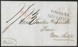 "Sale Number 1215, Lot Number 2101, Early Boston Postal History: 1816 and later(Boston to Nova Scotia, Oct. 7, 1849) ""ST JOHN NB/SHIP LETTER"", (Boston to Nova Scotia, Oct. 7, 1849) ""ST JOHN NB/SHIP LETTER"""