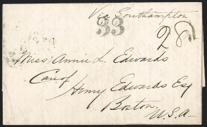 Sale Number 1215, Lot Number 2104, Early Boston Postal History: 1816 and later(Manila, Philippines, to Boston, Nov. 24, 1855), (Manila, Philippines, to Boston, Nov. 24, 1855)