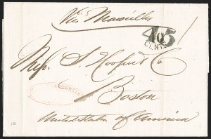 Sale Number 1215, Lot Number 2105, Early Boston Postal History: 1816 and later(Manila, Philippines, to Boston, Jan. 24, 1861), (Manila, Philippines, to Boston, Jan. 24, 1861)