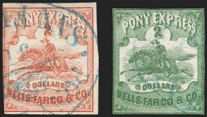 Sale Number 1215, Lot Number 2160, California-RelatedWells, Fargo & Co. Pony Express, $2.00 Red, $2.00 Green (143L1, 143L4), Wells, Fargo & Co. Pony Express, $2.00 Red, $2.00 Green (143L1, 143L4)