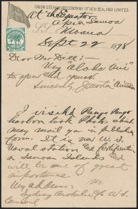 Sale Number 1215, Lot Number 2176, Ship Letters and Waterway MailSamoa, 1887, 1p Yellow Green (11a), Samoa, 1887, 1p Yellow Green (11a)