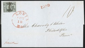 Sale Number 1215, Lot Number 2210, Postmasters' ProvisionalsSt. Louis Mo., 10c Black on Greenish (11X2), St. Louis Mo., 10c Black on Greenish (11X2)