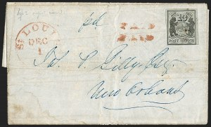 Sale Number 1215, Lot Number 2212, Postmasters' ProvisionalsSt. Louis Mo., 10c Black on Greenish (11X2), St. Louis Mo., 10c Black on Greenish (11X2)
