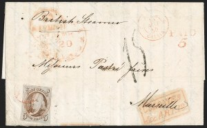 Sale Number 1215, Lot Number 2214, 5c-10c 1847 Issue: Foreign Destinations5c Red Brown (1), 5c Red Brown (1)