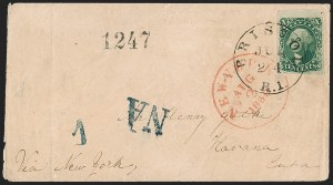 Sale Number 1215, Lot Number 2261, 1851-56 Issue10c Green, Ty. II (14), 10c Green, Ty. II (14)