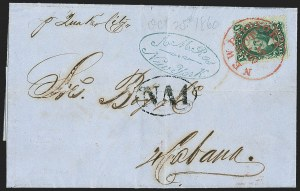 Sale Number 1215, Lot Number 2283, 1857-60 Issue10c Green, Ty. V (35), 10c Green, Ty. V (35)