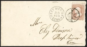 Sale Number 1215, Lot Number 2294, 1861-68 Issues: Domestic Uses3c Rose (65), 3c Rose (65)