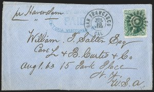 Sale Number 1215, Lot Number 2302, 1861-68 Issues: Foreign Destinations10c Yellow Green (68), 10c Yellow Green (68)