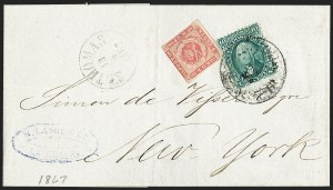 Sale Number 1215, Lot Number 2304, 1861-68 Issues: Foreign Destinations10c Yellow Green (68), 10c Yellow Green (68)