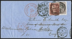 Sale Number 1215, Lot Number 2307, 1861-68 Issues: Foreign Destinations24c Brown Lilac (70a), 24c Brown Lilac (70a)