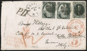 Sale Number 1215, Lot Number 2320, 1861-68 Issues: Foreign Destinations2c Black (73), 2c Black (73)