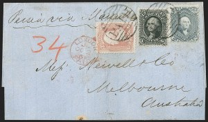 Sale Number 1215, Lot Number 2325, 1861-68 Issues: Foreign Destinations24c Steel Blue (70b), 24c Steel Blue (70b)