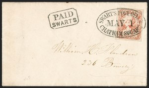 Sale Number 1215, Lot Number 2436, Carriers, Locals and Independent MailsSwarts' City Dispatch Post, New York N.Y., (1c) Red on Wove (136L9), Swarts' City Dispatch Post, New York N.Y., (1c) Red on Wove (136L9)