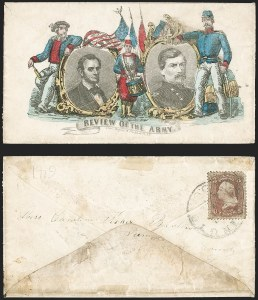 Sale Number 1215, Lot Number 2494, Civil War: Union Patriotics, Lincoln and Caricatures3c Rose (65), 3c Rose (65)