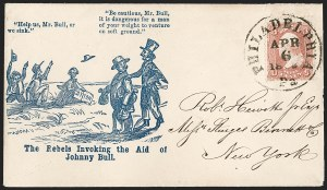 Sale Number 1215, Lot Number 2507, Civil War: Union Patriotics, Lincoln and Caricatures3c Rose (65), 3c Rose (65)