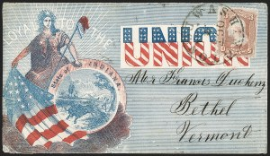 Sale Number 1215, Lot Number 2529, Civil War: Union Patriotics, Other Subjects3c Rose (65), 3c Rose (65)