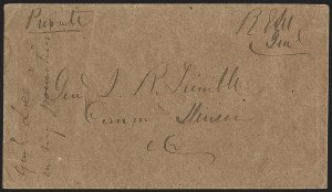 Sale Number 1215, Lot Number 2540, Confederate States: Lee Signed Cover, U.S. Postage in ConfederacyRobert E. Lee, Robert E. Lee