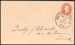 Sale Number 1215, Lot Number 2541, Confederate States: Lee Signed Cover, U.S. Postage in ConfederacySaint Louis Mo. Mar. 6, 1861, Saint Louis Mo. Mar. 6, 1861