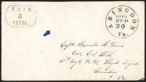 Sale Number 1215, Lot Number 2544, Confederate States: Postmasters' ProvisionalsAbingdon Va., 5c Black entire (2XU2), Abingdon Va., 5c Black entire (2XU2)